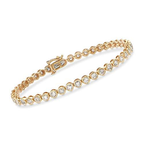 Ross-Simons 3.00 ct. t.w. Bezel-Set Diamond Tennis Bracelet in 14kt Yellow Gold ()