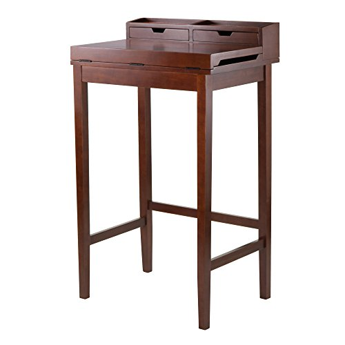 Winsome 94628 Brighton High Desk with 2-Drawer Brown