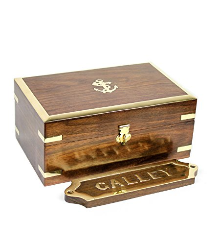 Wooden Chest With Pirate's Anchor | Wood Crafted Box | Jewlery Decor | Nagina International
