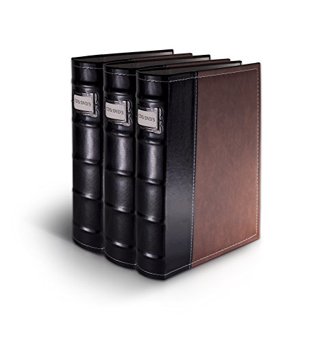 Bellagio-Italia Brown DVD Storage Binder Set - Stores Up to 144 DVDs, CDs, or Blu-Rays - Stores DVD Cover Art - Acid-Free ()