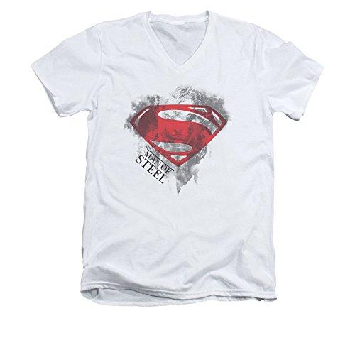 Man Of Steel Superman Movie Face & Logo Adult V-Neck T-Shirt Tee