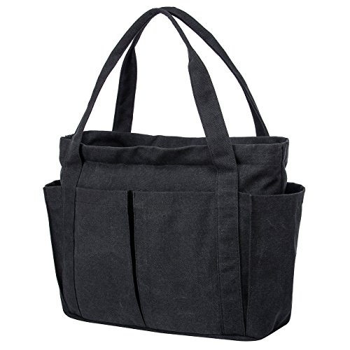 Riavika Canvas Weekend Tote Bag Shoulder Bag for Women-Black (Tote Bag With Pockets)
