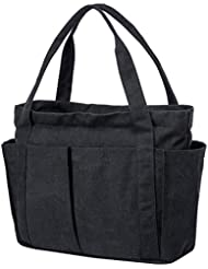 Riavika Canvas Weekend Tote Bag Shoulder Bag for Women-Black