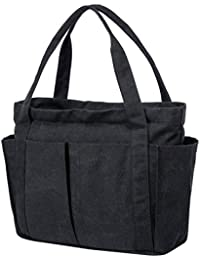 Canvas Weekend Tote Bag Shoulder Bag for Women-Black