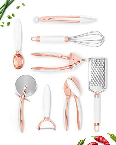White & Copper Kitchen Tools and Gadgets, Luxe 8PC Cooking Tools and Gadgets with Anti-Slip Handles, Copper Kitchen…