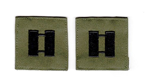 (EMBROIDERED UNIFORM PATCHES & EMBLEMS Rank Insignia - Cloth Sew On - Pair - Captain - Black on OD)
