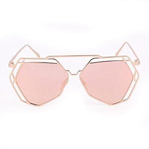 Mchoice Twin-Beams Geometry Design Women Metal Frame Mirror Sunglasses Cat Eye Glasses (Rose Gold)