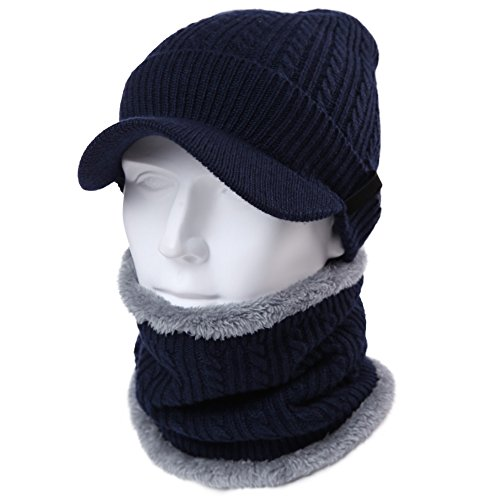 ed82315a0a5 Galleon - 2 Piece Wool Knit Hat   Scarf Sets Visor Beanie Fleece Lined Cold  Weather Winter Hat Jeep Cap W  Neck Warmer Navy