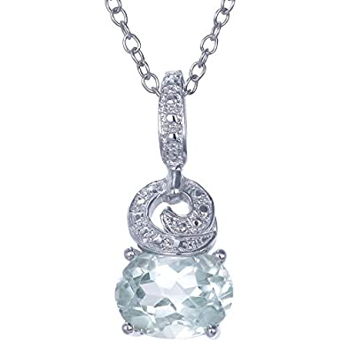 Amazon sterling silver green amethyst pendant 170 ct with 18 sterling silver green amethyst pendant 170 ct with 18 inch chain aloadofball Images