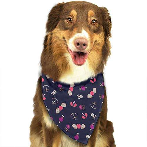 Adjustable Dog Bandanas Love Wings Anchor Neckerchief For Small Medium Dogs Cats Pets ()