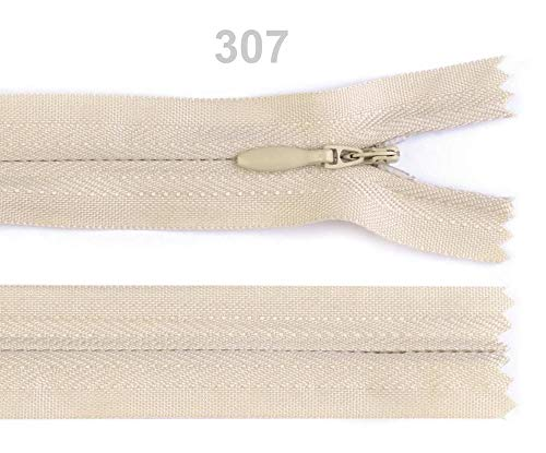 - 1pc 307 Biscotti Invisible Nylon Zipper Width 3mm Length 22 cm, Coil Closed End, Zippers, Haberdashery