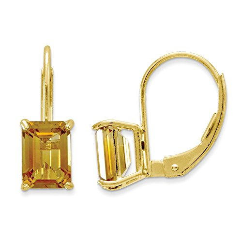 (14k Yellow Gold Polished Leverback 7x5mm Emerald-Cut Citrine Earrings)