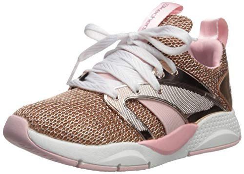Skechers Kids Girls' Shine Status-Off The Chain Sneaker, Rose Gold, 2 Medium US Little Kid