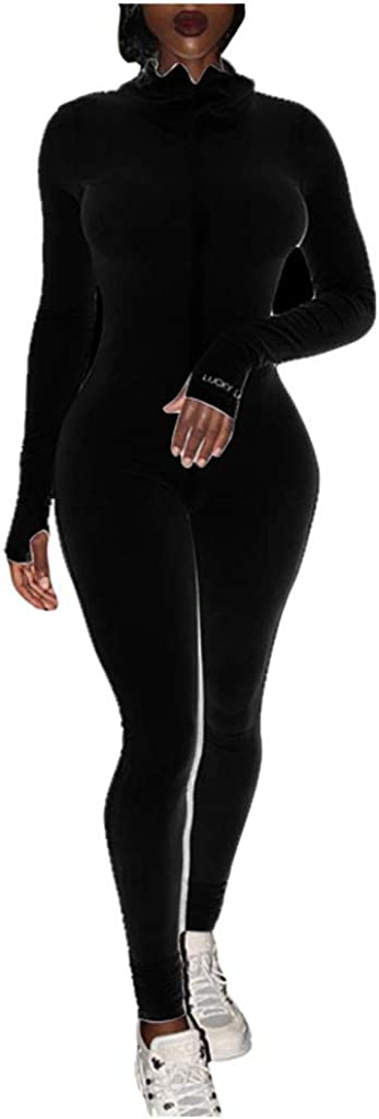 Forthery-Women Sexy Zip Up One Piece Outfits Hight Neck Long Sleeve Bodycon Long Pants Party Clubwear Jumpsuit Romper