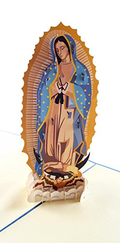 - iGifts And Cards Our Lady Virgen de Guadalupe (Blue Cover) 3D Pop Up Greeting Card - Mother Mary, Holy, Miracle, Half-Fold, Religious, Just Because, Thinking of You, Ordination, Spiritual, Christmas