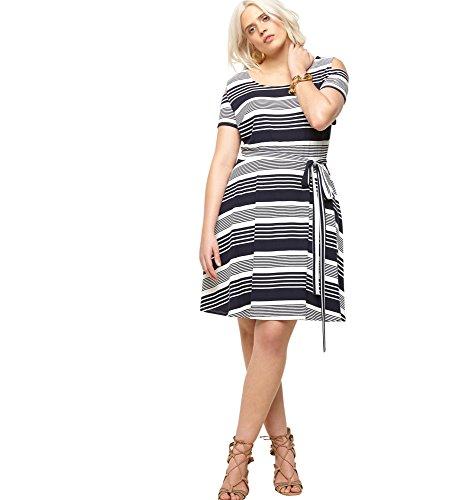 LORALETTE Women's Variegated Stripe Cold Shoulder Dress, 1X Navy