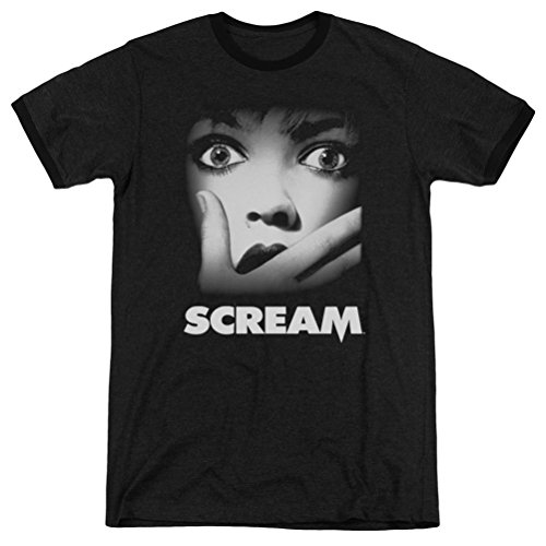 Scream Movie Poster Ringer Shirt, Black, XL]()