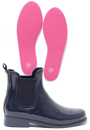 FASHION Rain Boots Regenstiefelette Gummistiefel Regenstiefel Stiefelette Chelsea Reitstiefelette Halbstiefel Stiefel NAVY & PINK Gr.38-41