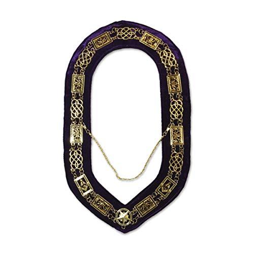 Grand Lodge Masonic Chain Collar with Purple Velvet - [Gold Finish]