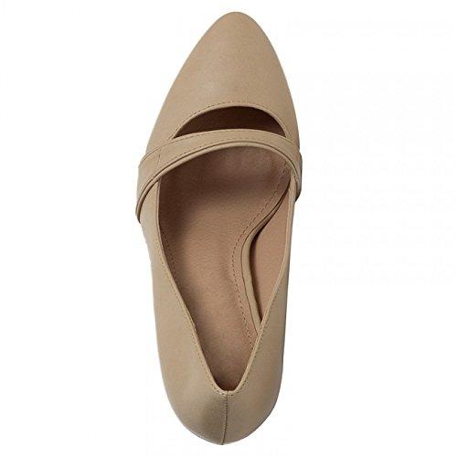 CASPAR Damen High Heels / Pumps mit hohem Absatz und klassisch eleganter Spitze mit Riemchen - Schwarz & Beige - SBU005 Beige