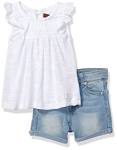 7 For All Mankind Kids Girls' Toddler Sleeve Jersey Fashion Top and Denim Short Set, White/Medium Wash, 4T