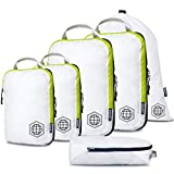 Compression Packing Cubes 6 Piece Set for Carryon Travel-Lightweight Durable Luggage Organizer Bags