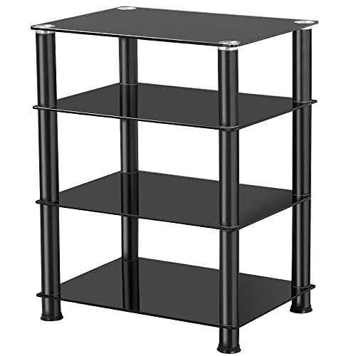 Multi Level Cabinet - Topeakmart 4 Tier Media Stand for Audio Video AV Components, Tempered Glass Stand Black