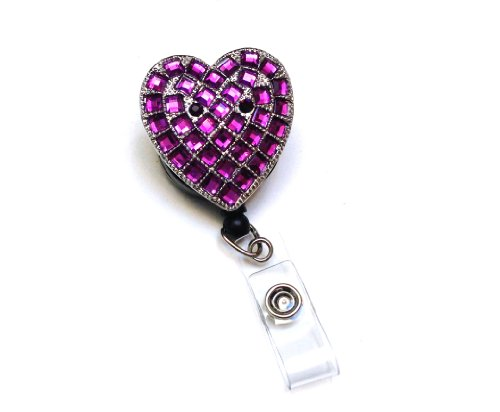 Sparkles! Sparkly Rhinestone Heart Retractable Badge Reel/ ID Badge Holder / Brooch / Pendant / Id Badge Holder (Purple)