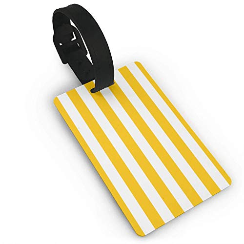 Luggage Tags Holders for Travel Luggage, Luggage Tags for Suitcases, Yellow Stripe Plastic PVC Luggage Tags Suitcase Labels Travel Bag ID Tags (Address Stripes Big Label)