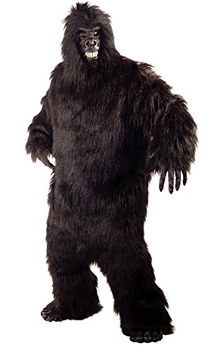 [UHC Unisex Gorilla Plush Jumpsuit Animal Jungle Party Adult Halloween Costume, OS] (Jungle Outfit)