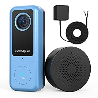 GazingSure WiFi Doorbell Camera, 2K Quad HD, Video Doorbell Camera with Chime, Smart Detection Zone, Work with Alexa, Cloud/SD Card Storage - Requires Existing Doorbell Wiring or Provided Adapter