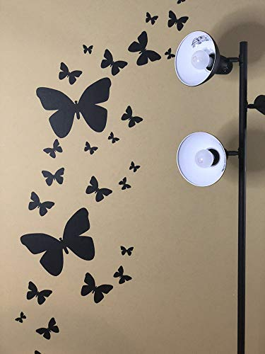 Create-A-Mural Butterfly Wall Decals (26) Butterfly Wall Decor Stickers, Peel & Stick Girls Wall Stickers (Black)