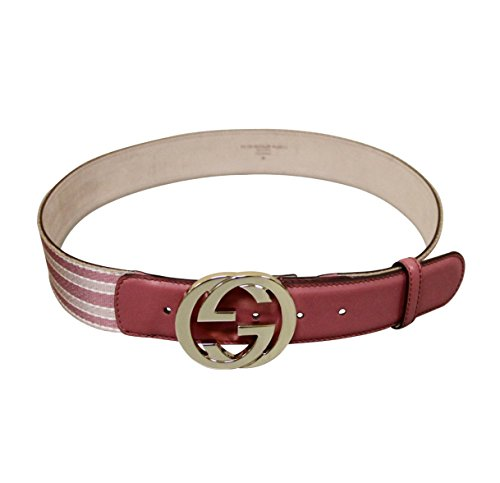 Gucci Women's Pink Canvas and Leather Interlocking G Buckle Web Belt 114876 6861 (90 / 36)