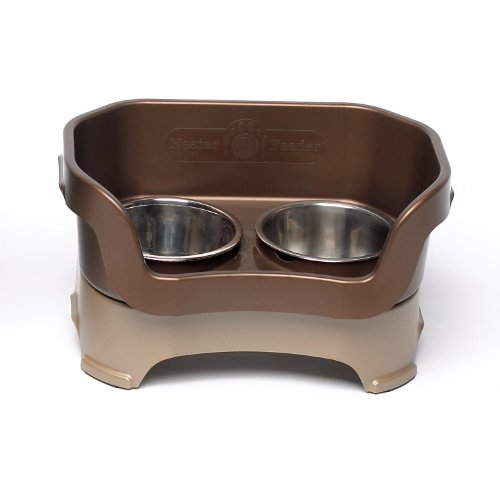 Neater Feeder Deluxe Medium Dog (Bronze) - The Mess Proof Elevated Bowls No Slip Non Tip Double Diner Stainless Steel Food Dish with Stand - Elevated Feeding Tray