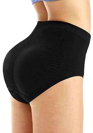 Yulee Womens Shorts Padded Seamless Butt Hip Enhancer Shaper Underwear Panties,Black,Medium