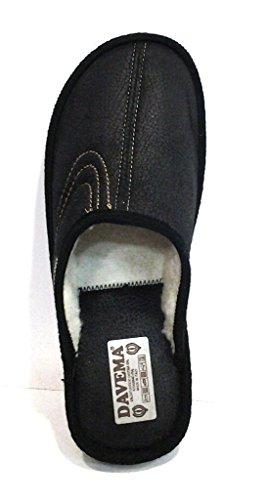 DAVEMA - Zapatillas de estar por casa para hombre negro negro 42