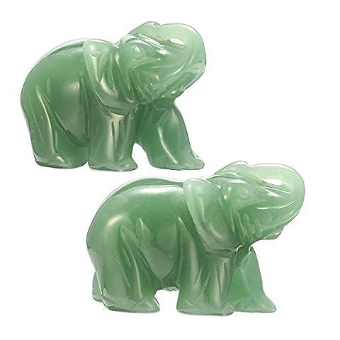 Joycoo Figurine Room Decoration Elephant Healing Guardian Carved Gemstones Elephant 2inch Nature Stone Rose Quartz Grey agate Green Aventurine Opalite (Green - Grey Agate Stone