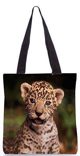 Snoogg Tiger 19 13.5 x 15 Zoll-Shopping-Dienstprogramm-Einkaufstasche aus Polyester-Segeltuch gemacht