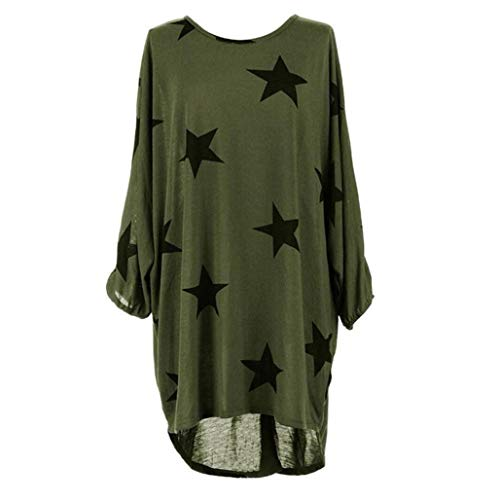 WOCACHI Women Plus Size Batwing Sleeve Stars Print Baggy Top Loose Long Blouse Clearance sale! Big Promotion! Discount! Halloween End of Season Tops for Women Shirts Ladies Womens Blouses -