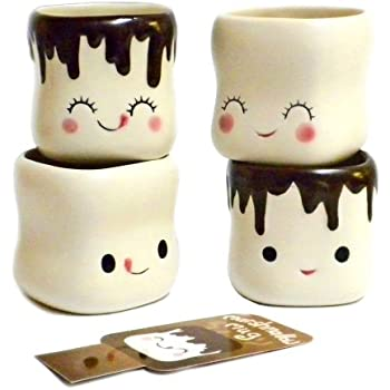 Cute Marshmallow Shaped Hot Chocolate Mugs-Ceramic-Set of 4