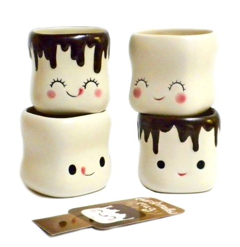 Cute Marshmallow Shaped Chocolate Mugs Ceramic Set product image