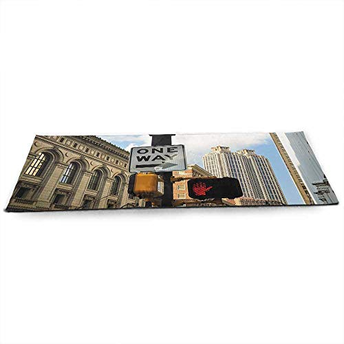 funkky City Eco Friendly Yoga Mat One Way Sign in Front of Atlanta Skyline Downtown Apartments Urban View for Joint Health and Physical Therapy W24 x L70 Ivory Black Pale Blue