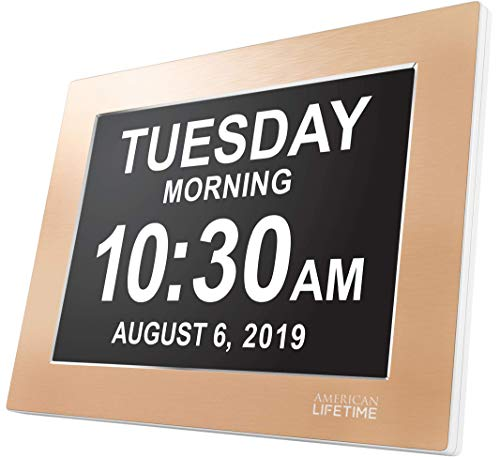 - American Lifetime Premium Version - Day Clock - Extra Large Impaired Vision Digital Clock with Battery Backup & 5 Alarm Options (Limited Edition Gold Color, Metal Frame)
