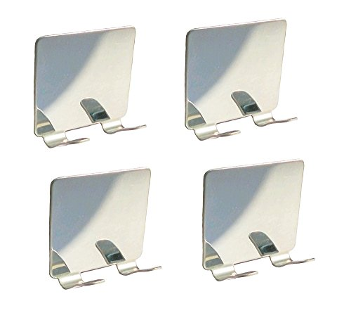 NELXULAS 4 PCS Mirror Stainless Steel Self Adhesive Shaving Wall hooks, Razor Hooks,Double prong coat hooks ,Hanger Wall Mount