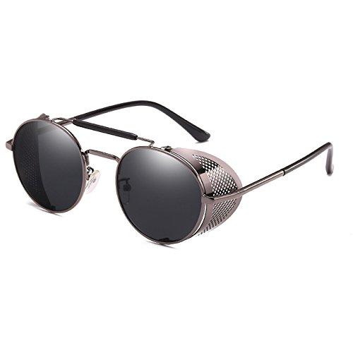 lunettes Lunettes C3 ROUND Miroir Punk 9234 de Hommes Femmes Personnalit¨¦ cool soleil Lunettes Gafas C4 th¨¦ or Zygeo Steampunk Vintage Gris vfSOS