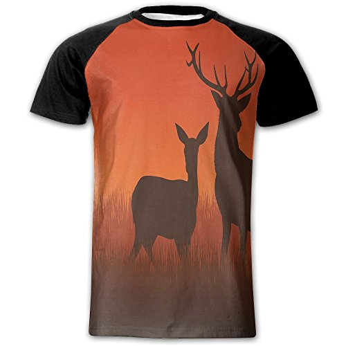 Newfood Ss Silhouette Illustration of A Deer and Doe On Meadow Autumn Season Skyline Men's Short Sleeve Raglan T (Tow Truck Business Cards)