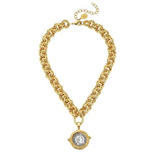 Antonio Gold San Coins (Susan Shaw Mixed Metal Coin Intaglio Necklace)