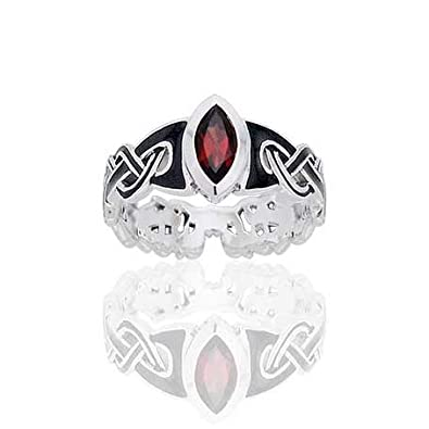 Amazoncom Mammen Viking Knot Garnet Norse Sterling Silver Ring