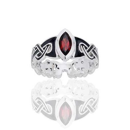 amazoncom mammen viking knot garnet norse sterling silver ringsizes 4 5 6 7 8 9 10 bands jewelry - Norse Wedding Rings