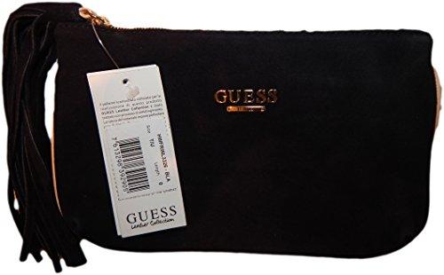 GUESS célebes fringes clutch, 100 %  cuir véritable noir 22 x 13 x 1,5 cm